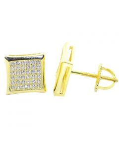 Mens Stud Earrings Gold-Tone Kite Shaped Pave CZ Screw Back 10MM