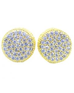 Mens Or Womens Stud Earrings Gold-Tone Round Cluster Large CZ Screw Back 12.5MM