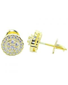 Ladies Stud Earrings Gold-Tone Round Cluster CZ Screw Back 9MM