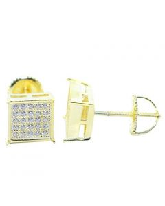 Unisex Stud Earrings Gold-Tone Square Princess Shaped Pave CZ Screw Back 8MM