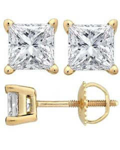 Unisex Stud Earrings Gold-Tone Princess Cut Solitaire 4-Prong CZ Screw Back 4.5MM