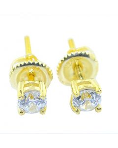 Mens or Womens Stud Earrings Gold-Tone Round Solitaire 4-Prong CZ Screw Back 5.5MM