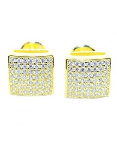 Mens or Womens Stud Earrings Gold-Tone Square Shaped Iced Out CZ Screw Back 9.5MM