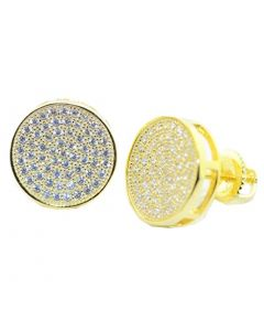 Mens or Womens Stud Earrings Gold-Tone Round Cluster CZ Screw Back 12.5MM