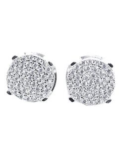 Mens or Womens Stud Earrings Silver Round Cluster CZ Screw Back 10MM