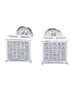 Mens or Womens Stud Earrings Silver Square Shaped Pave CZ Screw Back 8MM