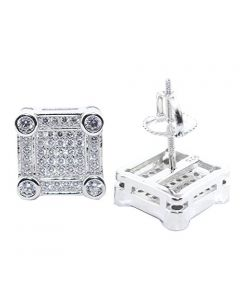 Mens Stud Earrings Sterling Silver Square Shaped Pave Fashion CZ Screw Back 10.5MM