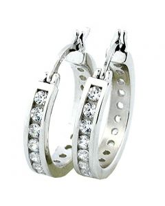 Mens or Womens Hoop Earrings With CZ Round 18MM Sterling Silver