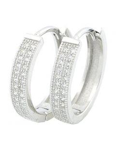Ladies Earrings Hoops Pave Set 2 Row CZ 18MM Sterling Silver