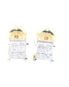 0.25cttw Princess Cut Diamond Earrings Studs Screw Back 10K Yellow Gold 5mm Wide