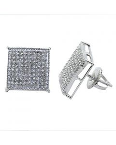 10mm Wide Diamond Earrings Domed Square 0.4cttw Sterling Silver Screw Back Mens