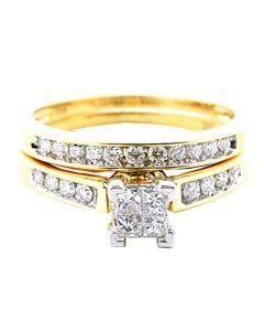 10K Yellow Gold Bridal Set 1/2cttw Princess Cut Diamonds 2pc Set