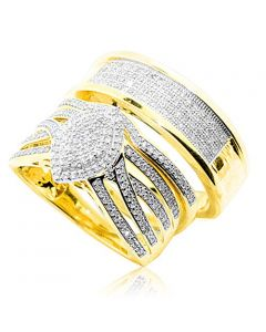 His and Her Rings Set 10K Yellow Gold 0.64ctw Diamonds Extra Wide 19mm