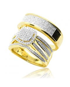 His and Her Rings Set 10K Yellow Gold 0.66ctw Diamonds 16mm Wide