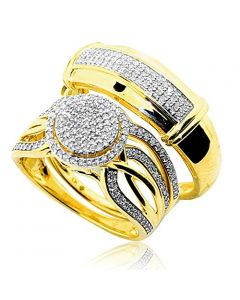 His and Her Diamond Rings Set 10K Gold 0.52ctw Diamonds Halo Style
