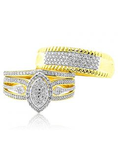 10K Gold His and Her Rings Set Wide 0.59ctw Diamonds