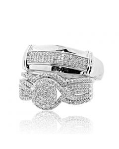 0.63cttw Diamond Trio Rings Set 10K White Gold His and Her 3pc
