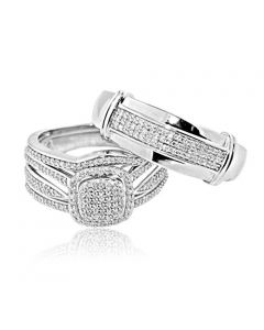 10K White Gold 0.54cttw Diamond Trio Wedding Rings Set His and Hers