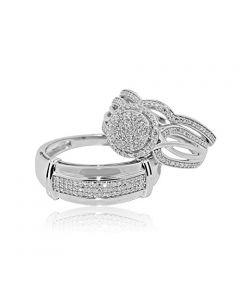 0.5ctw Diamond Trio Wedding Set 10K White Gold Halo Style 3pc Set