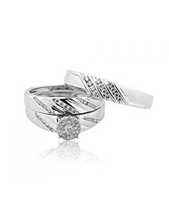 10K White Gold Diamond 3pc Trio Wedding Set His And Hers 0.4cttw