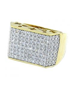 3cttw Mens Large Diamond Pinky Fashion Ring 10K Yellow Gold 18mm Wide
