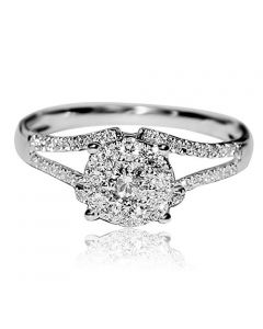 1/2cttw Diamond Engagement Ring 10K White Gold Split Shoulder Vintage Inspired