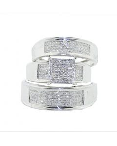 1/2cttw Diamond Trio Rings Set His and Her 10K White Gold Extra Wide