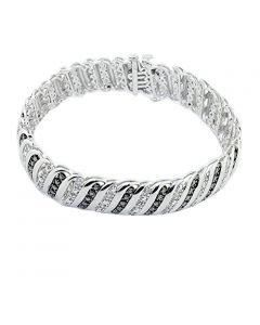 Diamond Tennis Bracelet White Diamond 0.1ctw Womens 7 inch Bracelet With Black Finish