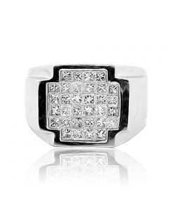 2cttw Princess Cut Diamond Mens Ring Pinky Fashion 14K White Gold