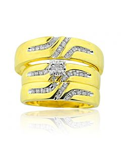 Trio Rings Set His and Her Rings 0.28ctw Diamonds 10K Gold