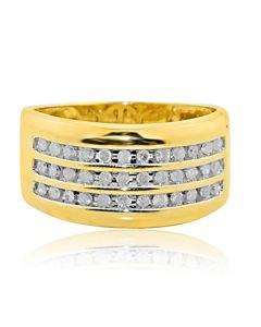 Diamond Mens Diamond Wedding Ring Extra Wide 1/2cttw 10K Yellow Gold 3 Rows Round Diamonds