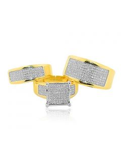 Diamond Trio Wedding Set His and Her Rings 0.98cttw 14K Yellow Gold Extra Wide Pave Set