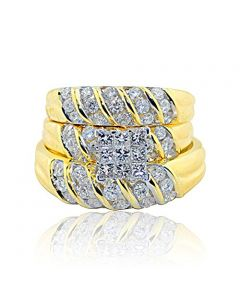 Diamond Trio Rings Set His and Her Rings 1.75cttw 14K Yellow Gold Prncess Cut Engagement Ring