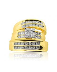 Diamond Trio Rings Set His and Her Rings 1/2cttw 14K Yellow Gold Princess Cut Diamond