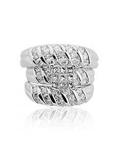 Diamond Trio Rings Set His and Her Rings 1.75cttw 14K White Gold Princess Cut Diamond