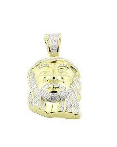 Jesus Charm Small Pendant 30mm Tall Yellow Silver 1/2cttw Pave Set (i3, j/k)