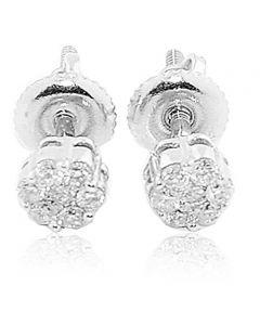 14K White Gold Earrings 0.15cttw Diamonds Studs Flower Setting 4mm Screw Back