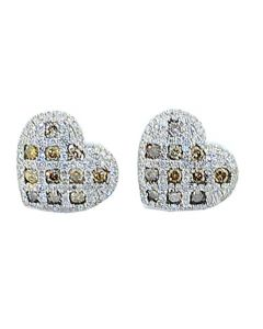 Heart Earrings 0.9cttw Diamonds Cognac and White 12mm Wide 14k White Gold