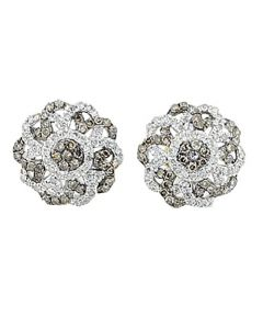 Diamond Earrings Flowers Cognac and White Diamonds 10K Yellow gold 11mm Wide 1/2cttw