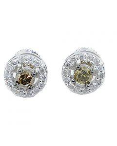White Gold Earrings Congac and White Diamonds Halo Style 10K White 0.69cttw (i2/i3, i/j)