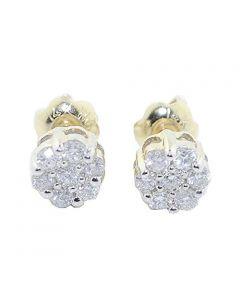 14K Gold Earrings 1/4cttw Diamonds Screw Back Flower Settings Ladies Earrings Studs(i2/i3, i/j)