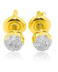 0.5ct Diamond Earrings 14K Gold Flowers Screw Back Ladies Earrings Real Diamond