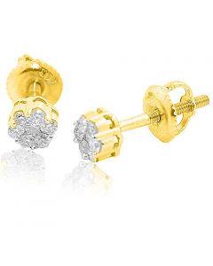14K Gold Earrings 0.15cttw Diamonds Screw Back Flower Settings Ladies Studs Earrings(i2/i3, i/j)