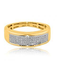 10K Gold Wedding Band Ring Mens 1/5cttw Pave Set 7mm Wide (i2/i3, I/j)