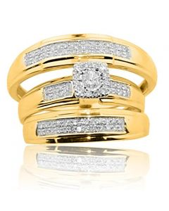 His and Her Trio Rings Set 10K Gold 1/3cttw Diamonds Mens and Womens Rings