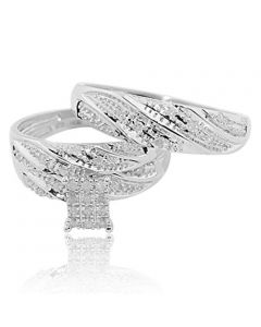 10K White Gold Trio Rings Set His and Her Wedding Rings 1/5cttw Diamonds (i3/i/j)