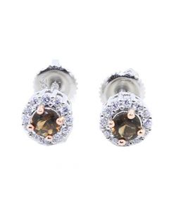 Silver Earrings Chocolate and White Halo Style Screw Back Two Tone 7mm Ladies Earrings
