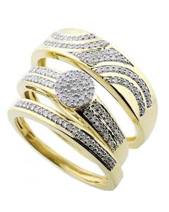 10k Yellow Gold His and Her Rings Set 1/3ctw Diamonds Mens and Womens 3pc Set (I2/i3, I/j 033ctw)