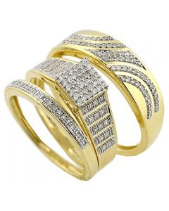 10k Yellow Gold His and Her Rings Set 1/3ctw Diamonds 14mm Wide 3pc Set (I2/i3, I/j 033ctw)