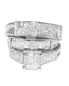 White Gold Trio Wedding Set Mens Women Rings Real 1/2cttw Diamonds Pave(I/j Color 0.5cttw)
